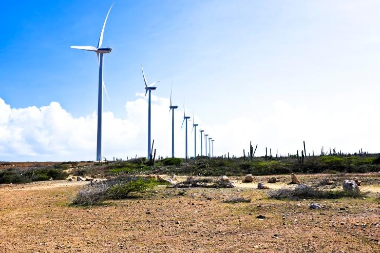 Windmills in the cunucu from Aruba